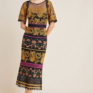 Anthropologie Ornate Holiday Embroidered Dress